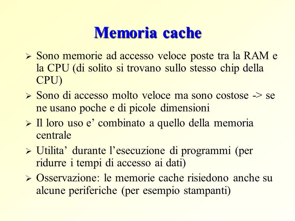 Memoria cache Sono memorie ad accesso veloce poste tra la RAM e la CPU (di solito si trovano sullo stesso chip della CPU)
