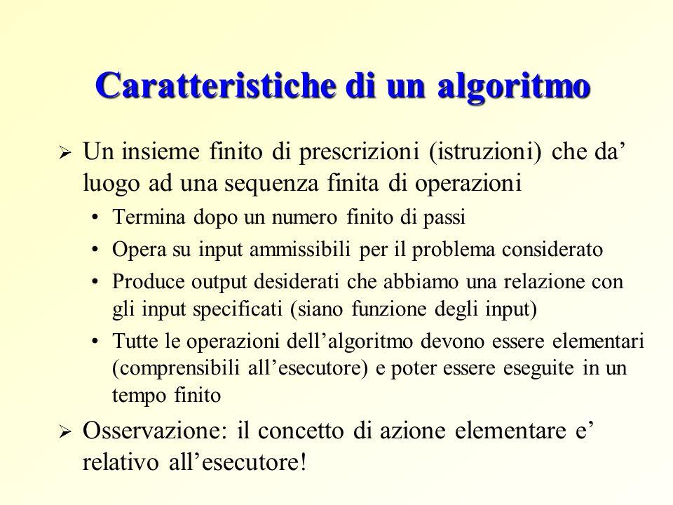 Caratteristiche di un algoritmo