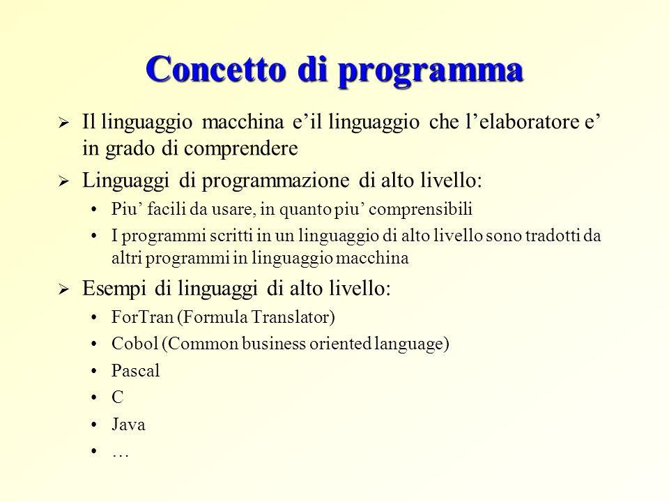 Concetto di programma Il linguaggio macchina e'il linguaggio che l'elaboratore e' in grado di comprendere.