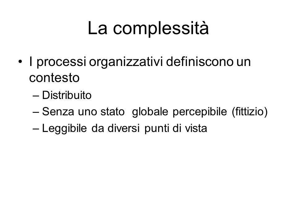 La complessità I processi organizzativi definiscono un contesto