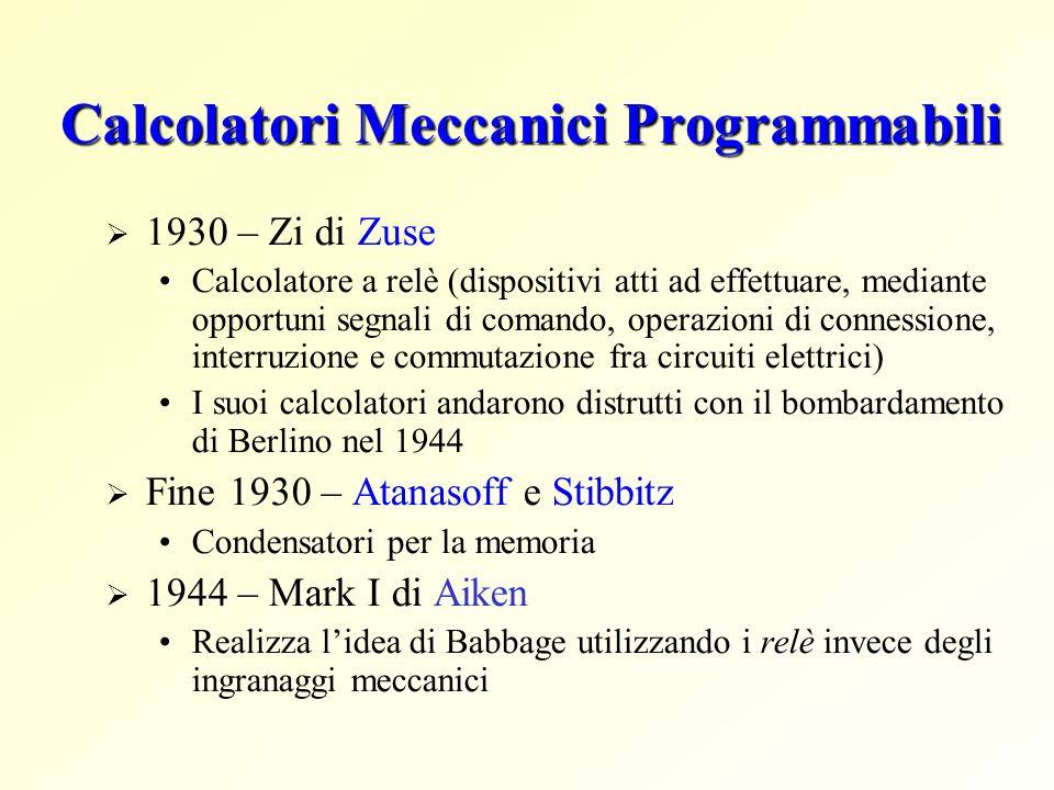 Calcolatori Meccanici Programmabili