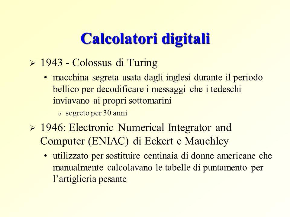 Calcolatori digitali 1943 - Colossus di Turing