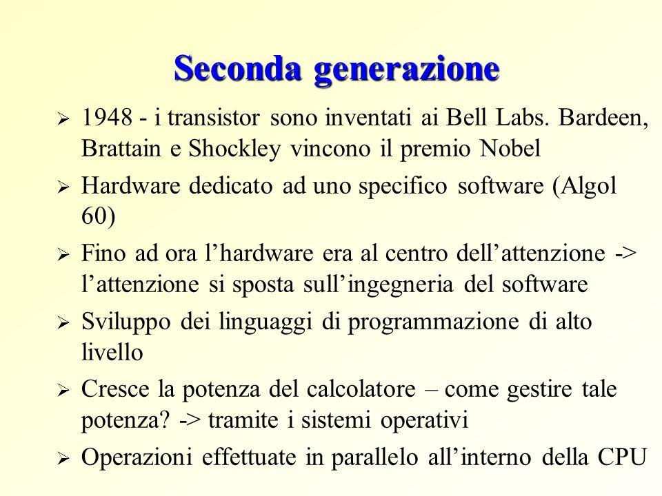 Seconda generazione 1948 - i transistor sono inventati ai Bell Labs. Bardeen, Brattain e Shockley vincono il premio Nobel.