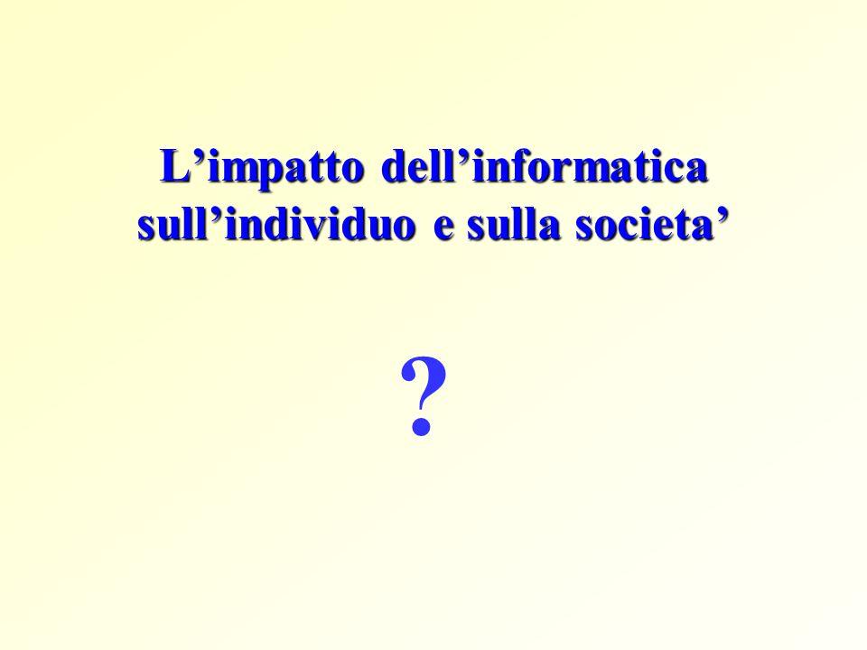 L'impatto dell'informatica sull'individuo e sulla societa'