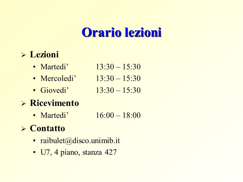Orario lezioni Lezioni Ricevimento Contatto Martedi' 13:30 – 15:30