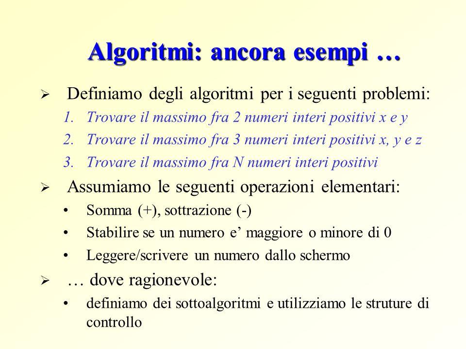 Algoritmi: ancora esempi …