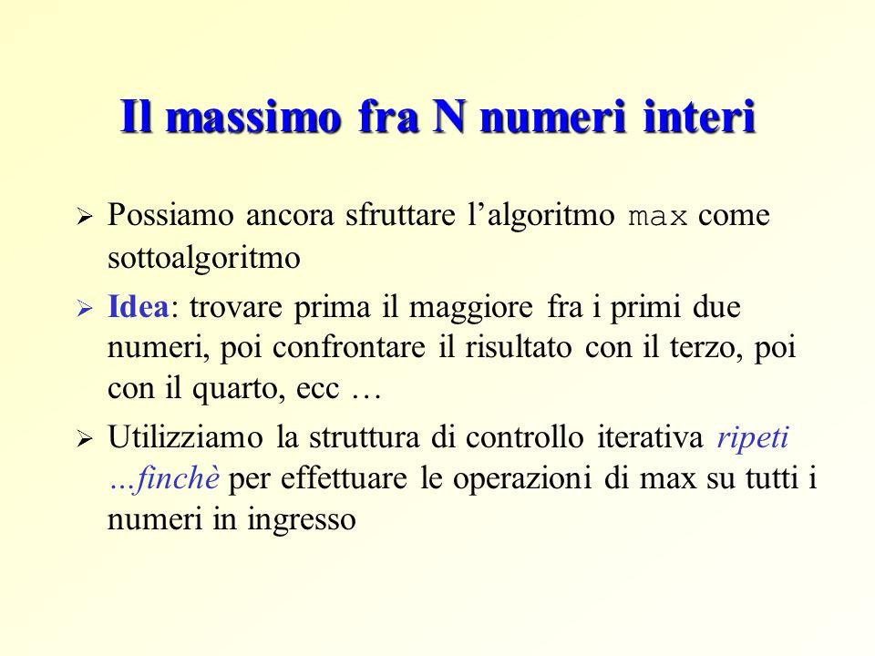 Il massimo fra N numeri interi