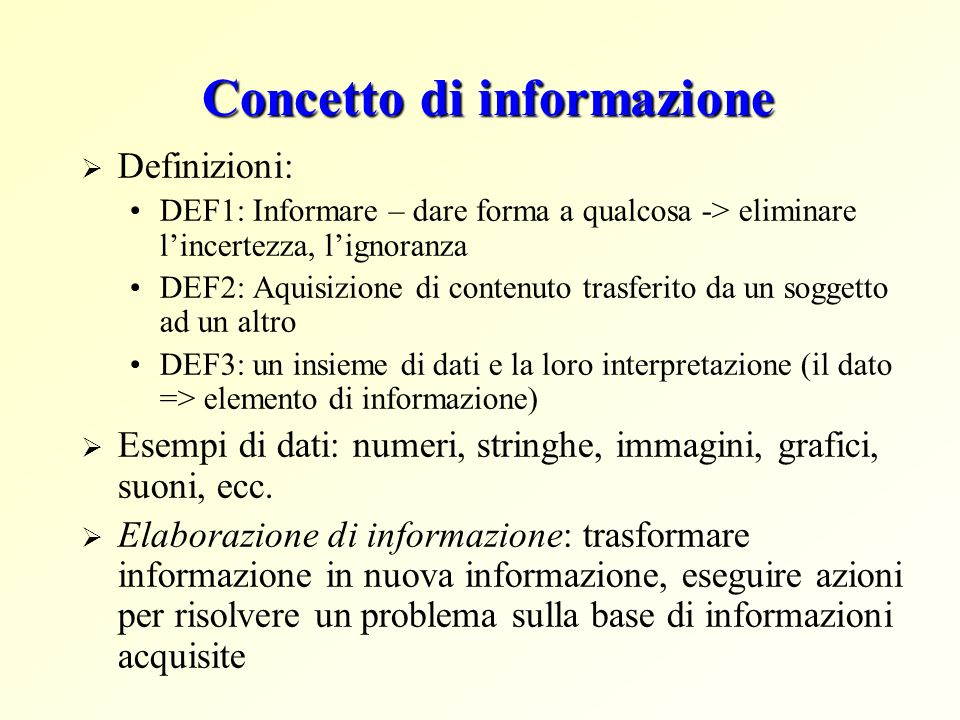 Concetto di informazione