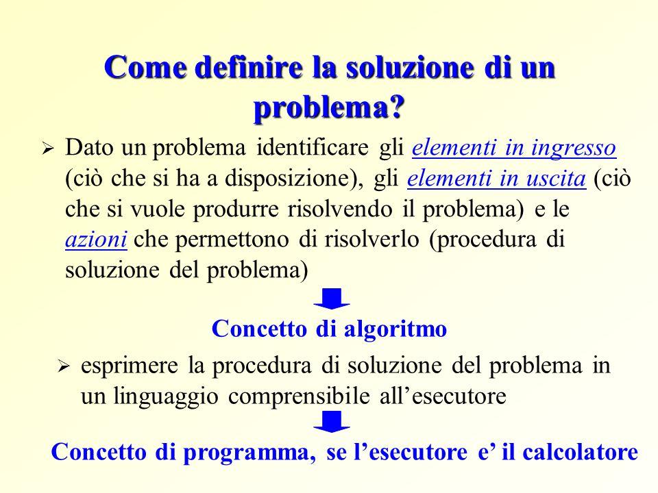 Come definire la soluzione di un problema
