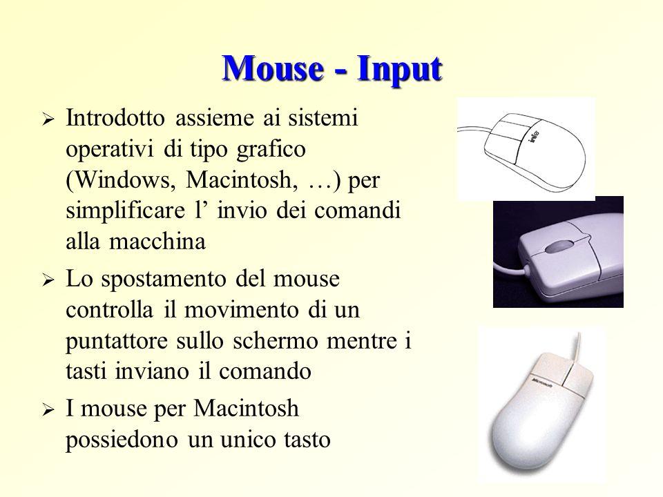 Mouse - Input Introdotto assieme ai sistemi operativi di tipo grafico (Windows, Macintosh, …) per simplificare l' invio dei comandi alla macchina.