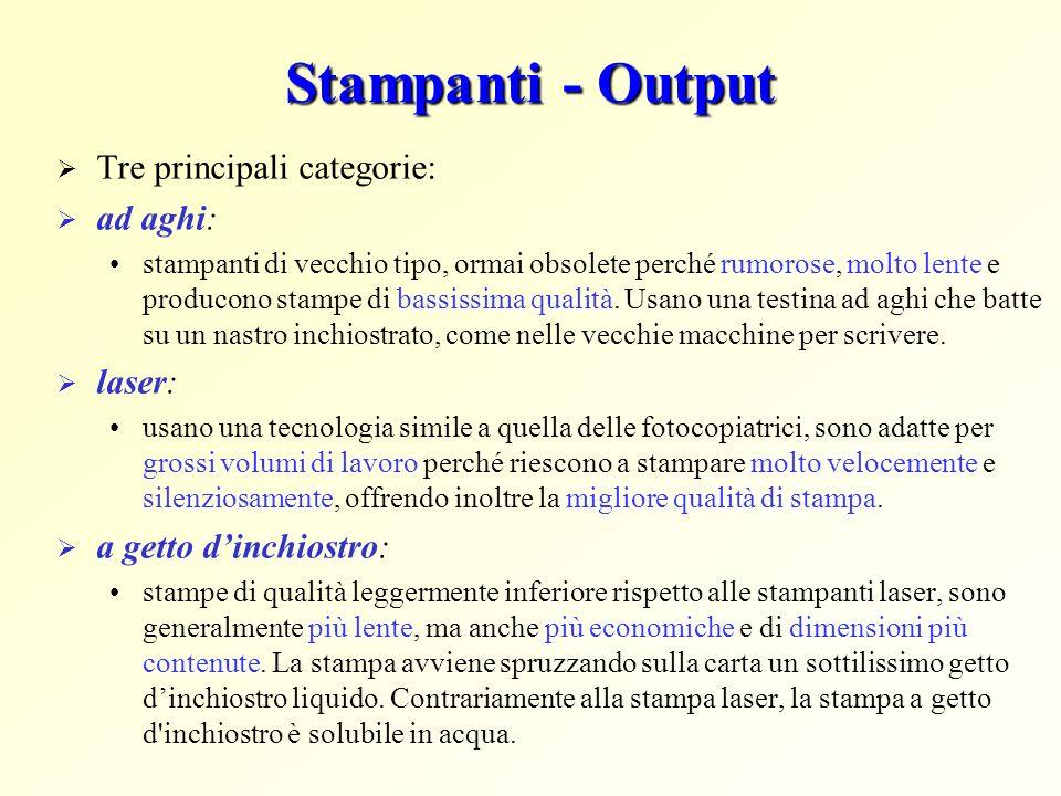 Stampanti - Output Tre principali categorie: ad aghi: laser: