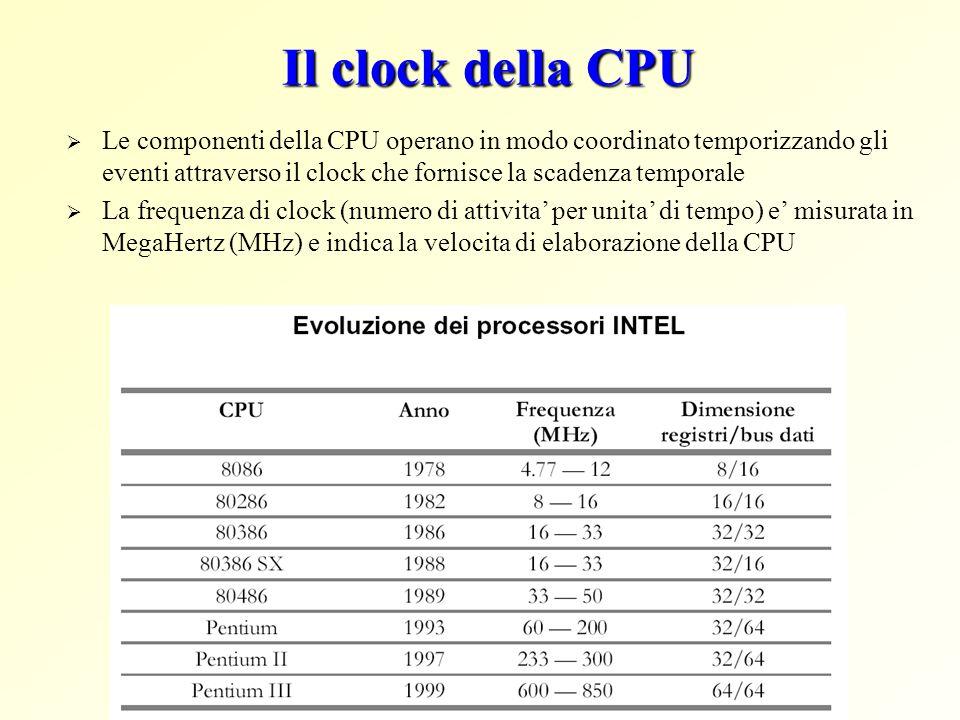 Il clock della CPU Le componenti della CPU operano in modo coordinato temporizzando gli eventi attraverso il clock che fornisce la scadenza temporale.
