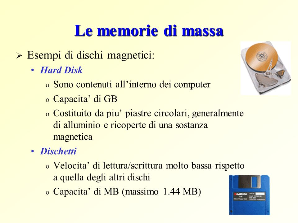Le memorie di massa Esempi di dischi magnetici: Hard Disk