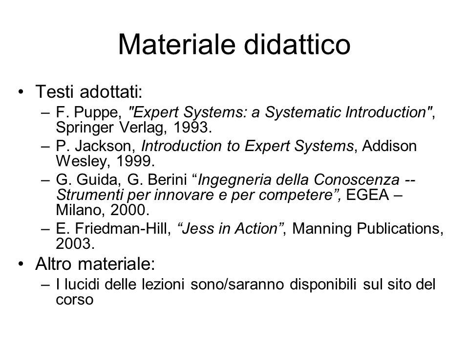 Materiale didattico Testi adottati: Altro materiale: