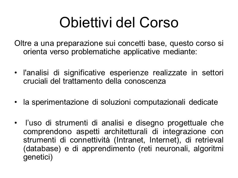 Obiettivi del Corso Oltre a una preparazione sui concetti base, questo corso si orienta verso problematiche applicative mediante: