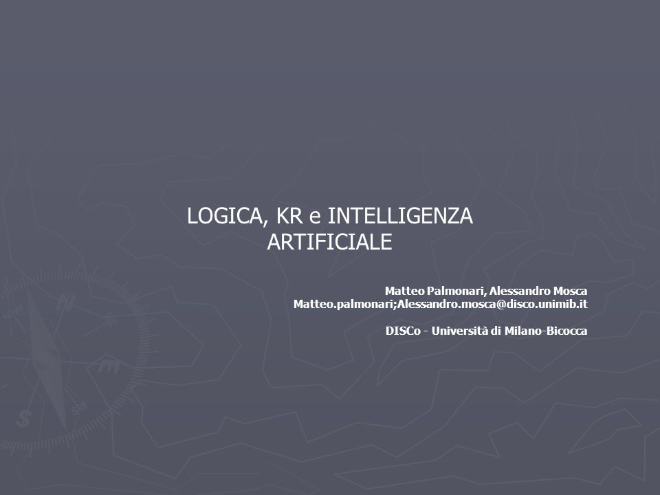 LOGICA, KR e INTELLIGENZA ARTIFICIALE