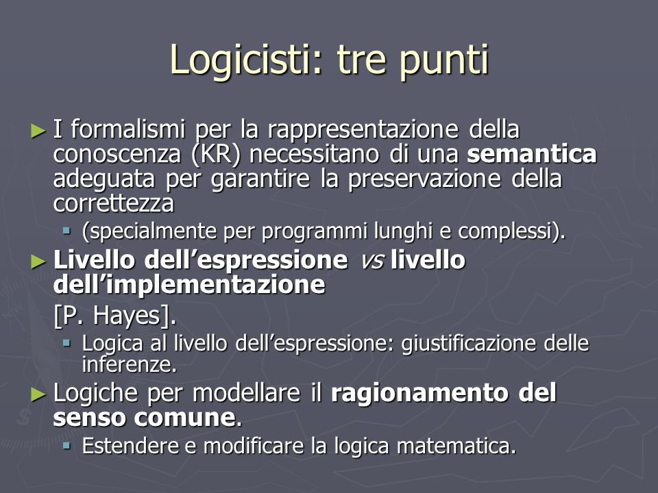 Logicisti: tre punti