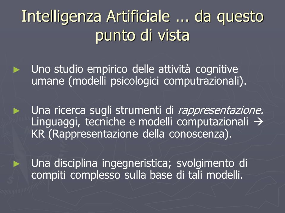 Intelligenza Artificiale ... da questo punto di vista