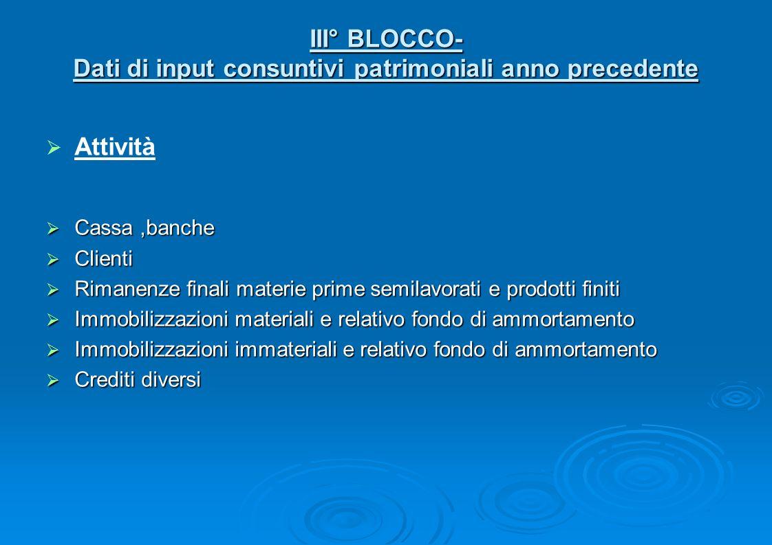 III° BLOCCO- Dati di input consuntivi patrimoniali anno precedente