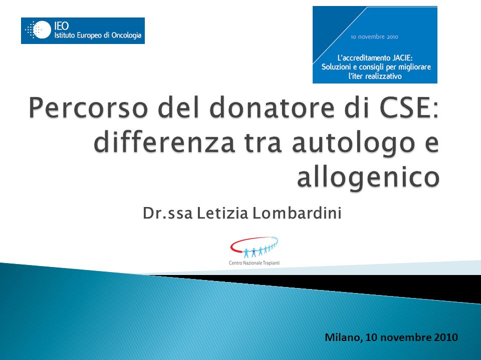 Percorso del donatore di CSE: differenza tra autologo e allogenico