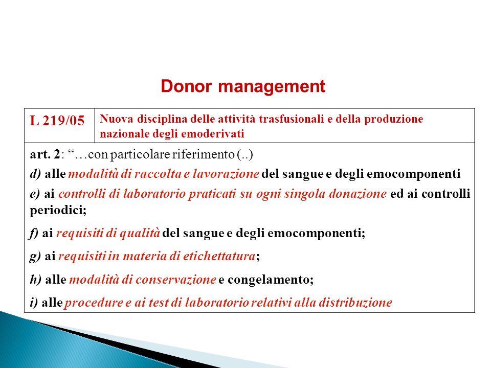 Donor management L 219/05 art. 2: …con particolare riferimento (..)