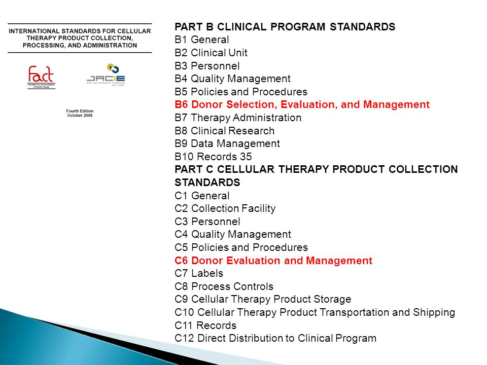 PART B CLINICAL PROGRAM STANDARDS
