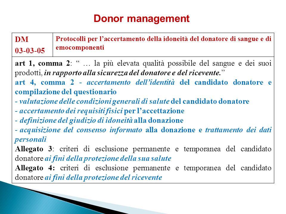 Donor management DM. 03-03-05. Protocolli per l'accertamento della idoneità del donatore di sangue e di emocomponenti.