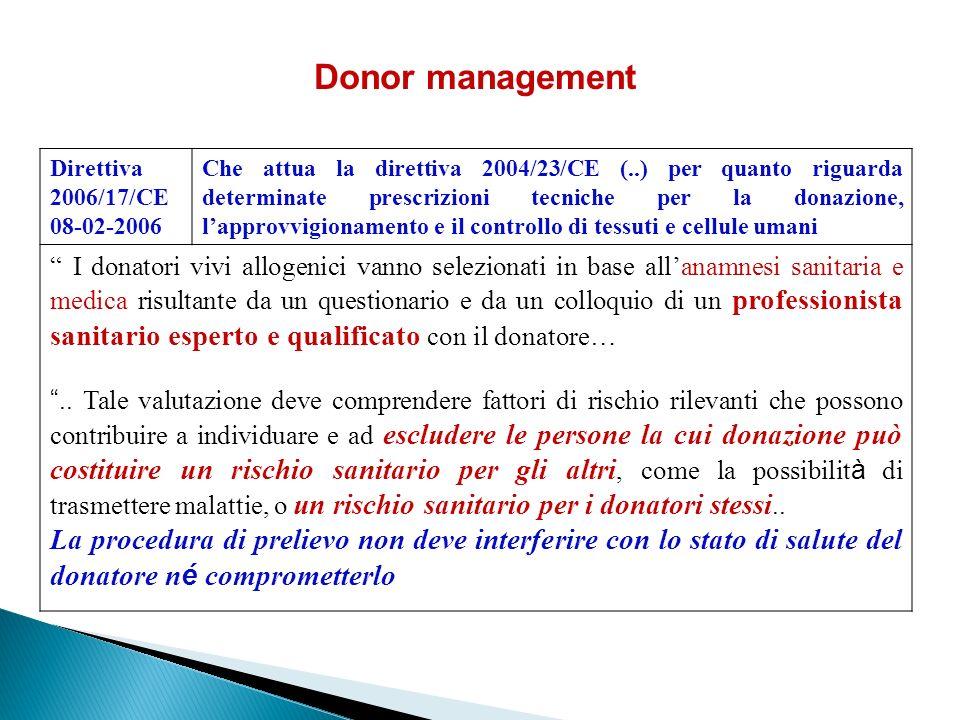 Donor management Direttiva 2006/17/CE. 08-02-2006.
