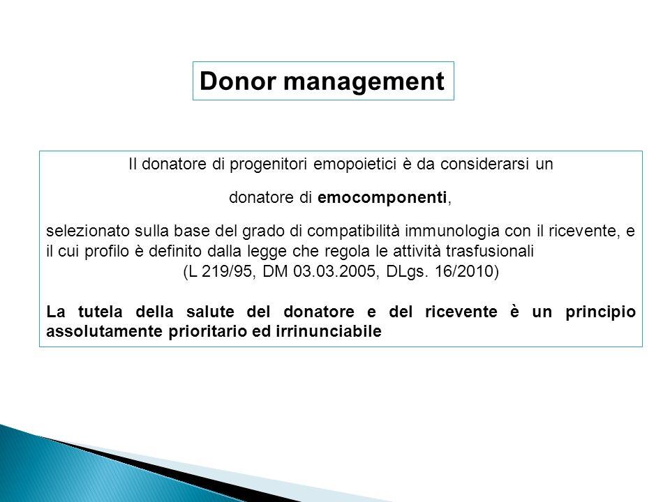 Donor management Il donatore di progenitori emopoietici è da considerarsi un. donatore di emocomponenti,
