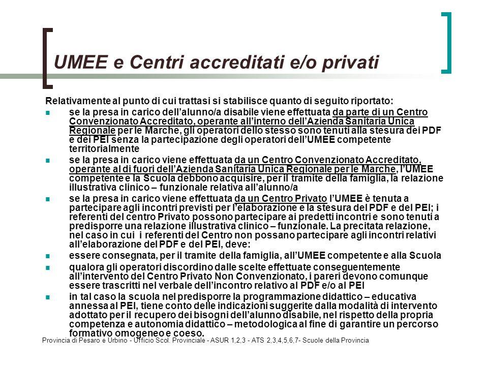UMEE e Centri accreditati e/o privati