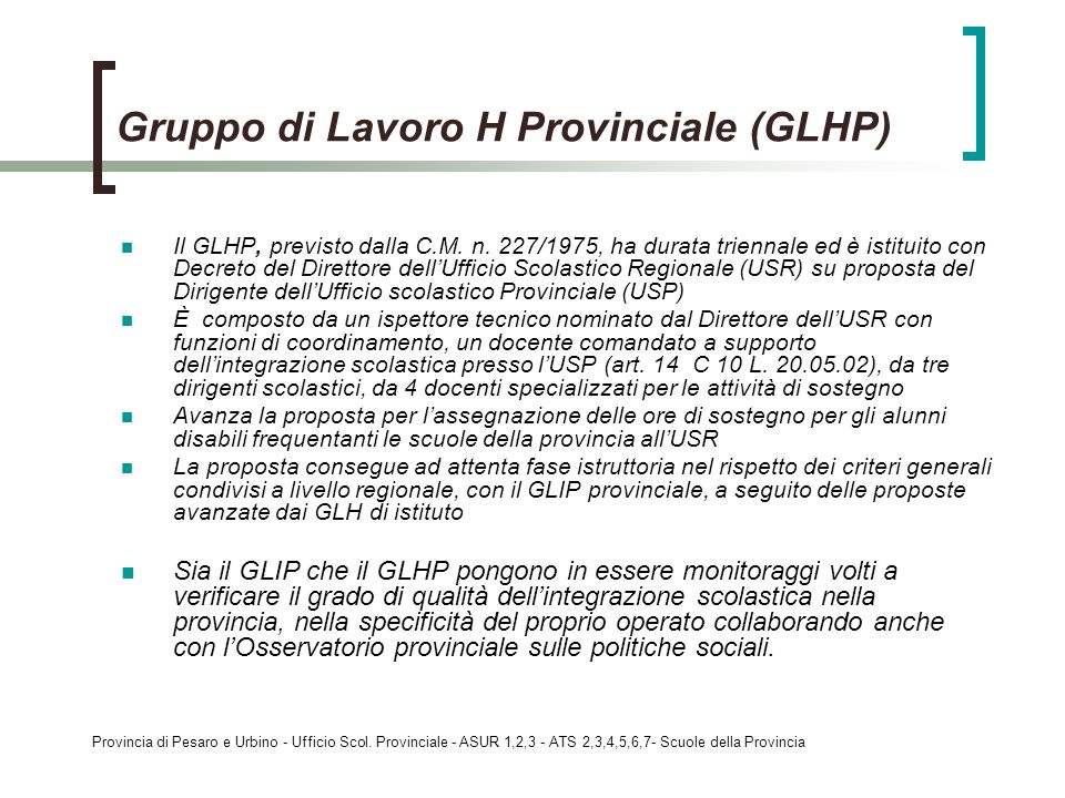 Gruppo di Lavoro H Provinciale (GLHP)