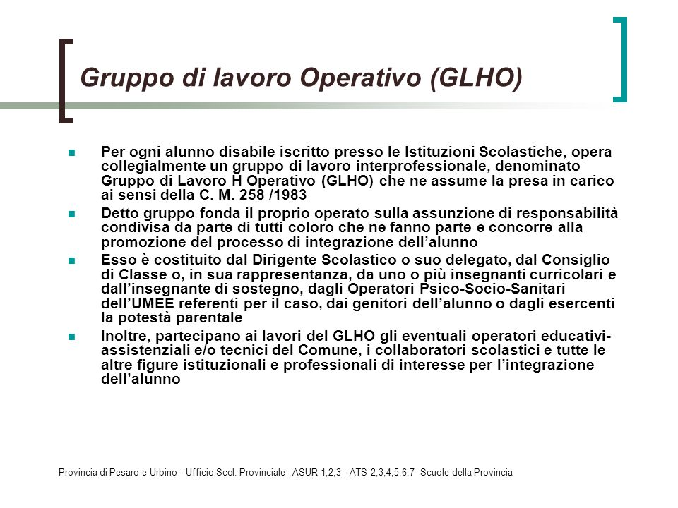 Gruppo di lavoro Operativo (GLHO)