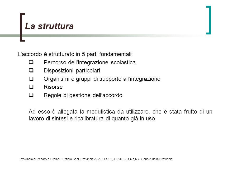 La struttura L'accordo è strutturato in 5 parti fondamentali: