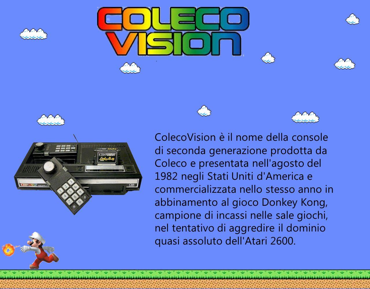 ColecoVision è il nome della console di seconda generazione prodotta da Coleco e presentata nell agosto del 1982 negli Stati Uniti d America e commercializzata nello stesso anno in abbinamento al gioco Donkey Kong, campione di incassi nelle sale giochi, nel tentativo di aggredire il dominio quasi assoluto dell Atari 2600.