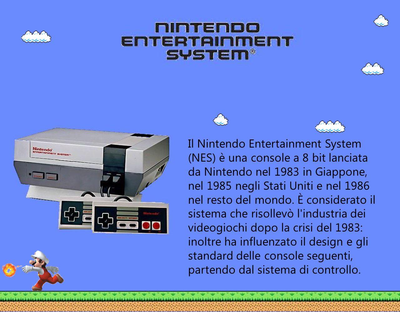 Il Nintendo Entertainment System (NES) è una console a 8 bit lanciata da Nintendo nel 1983 in Giappone, nel 1985 negli Stati Uniti e nel 1986 nel resto del mondo.