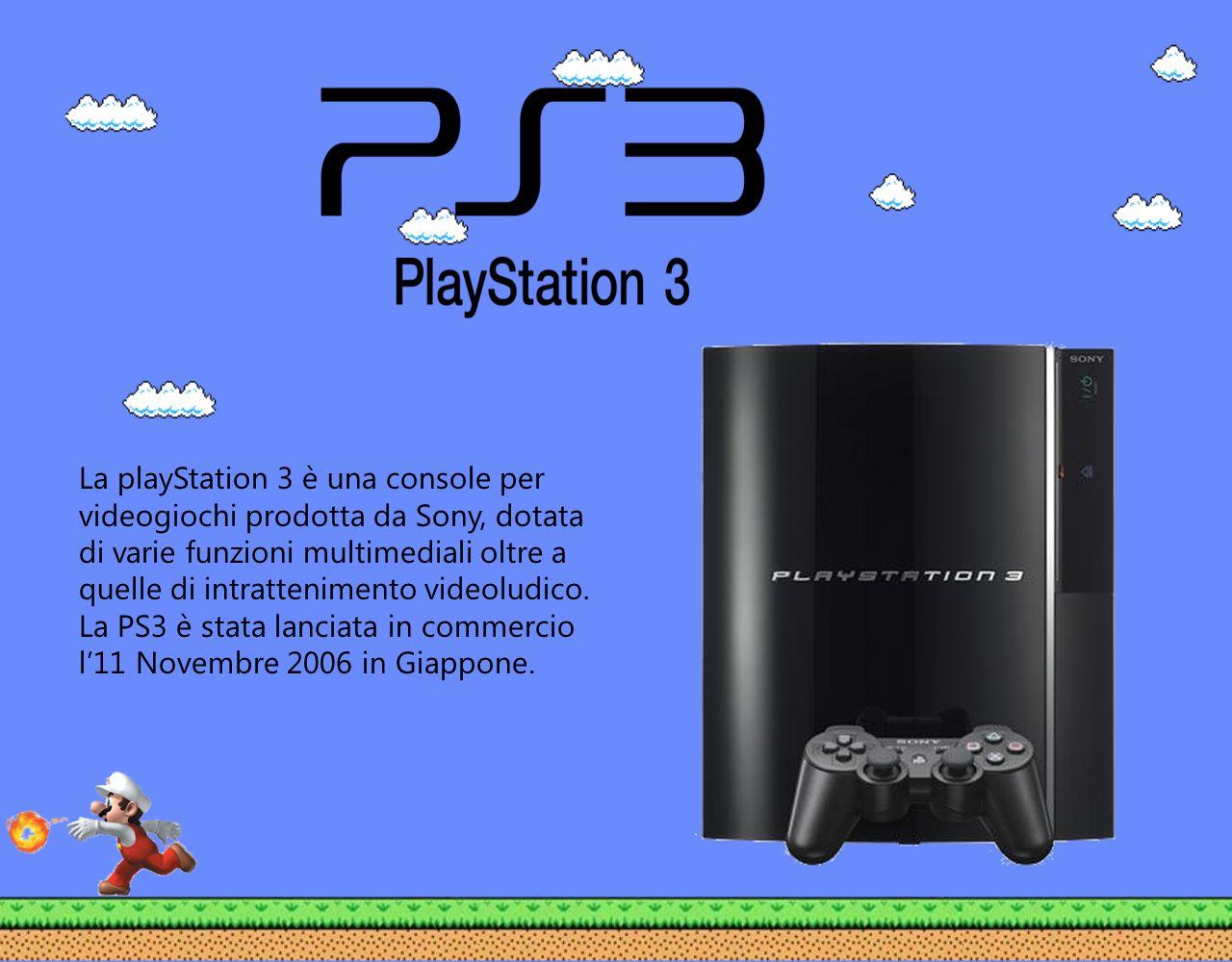 La playStation 3 è una console per videogiochi prodotta da Sony, dotata di varie funzioni multimediali oltre a quelle di intrattenimento videoludico.