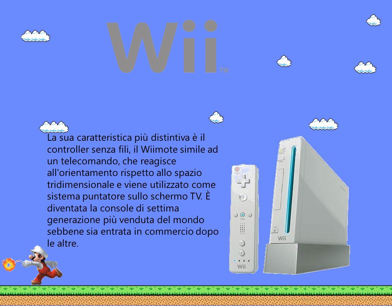 La sua caratteristica più distintiva è il controller senza fili, il Wiimote simile ad un telecomando, che reagisce all orientamento rispetto allo spazio tridimensionale e viene utilizzato come sistema puntatore sullo schermo TV.