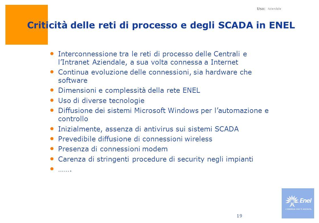 Criticità delle reti di processo e degli SCADA in ENEL