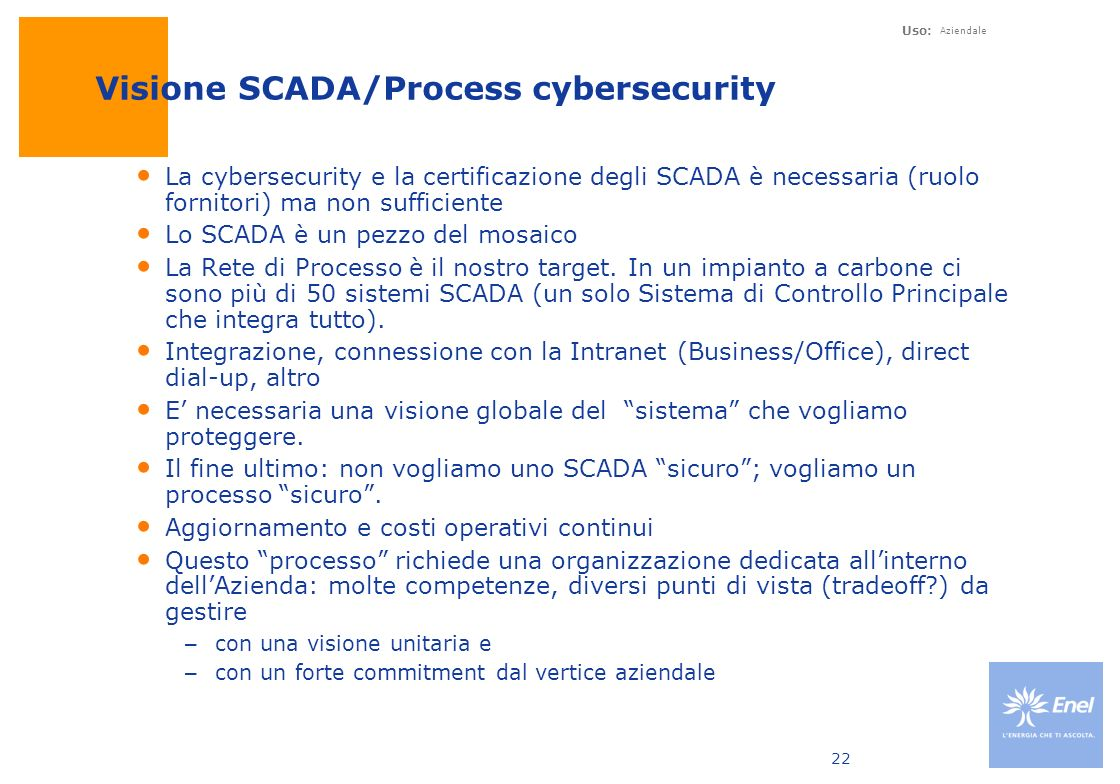 Visione SCADA/Process cybersecurity