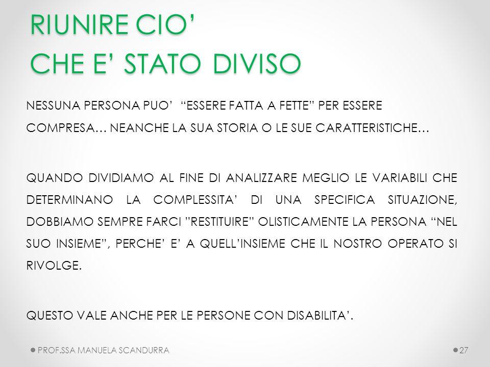 RIUNIRE CIO' CHE E' STATO DIVISO