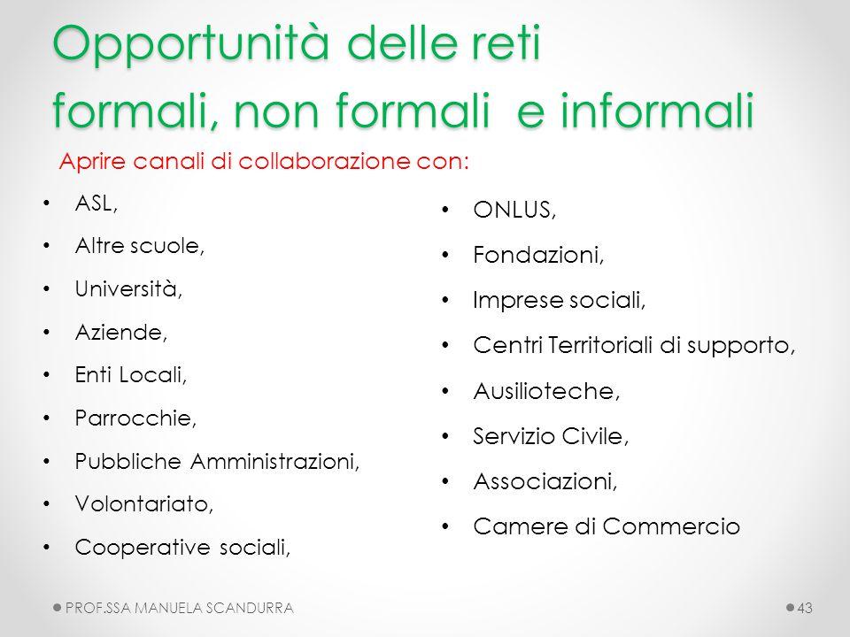 Opportunità delle reti formali, non formali e informali