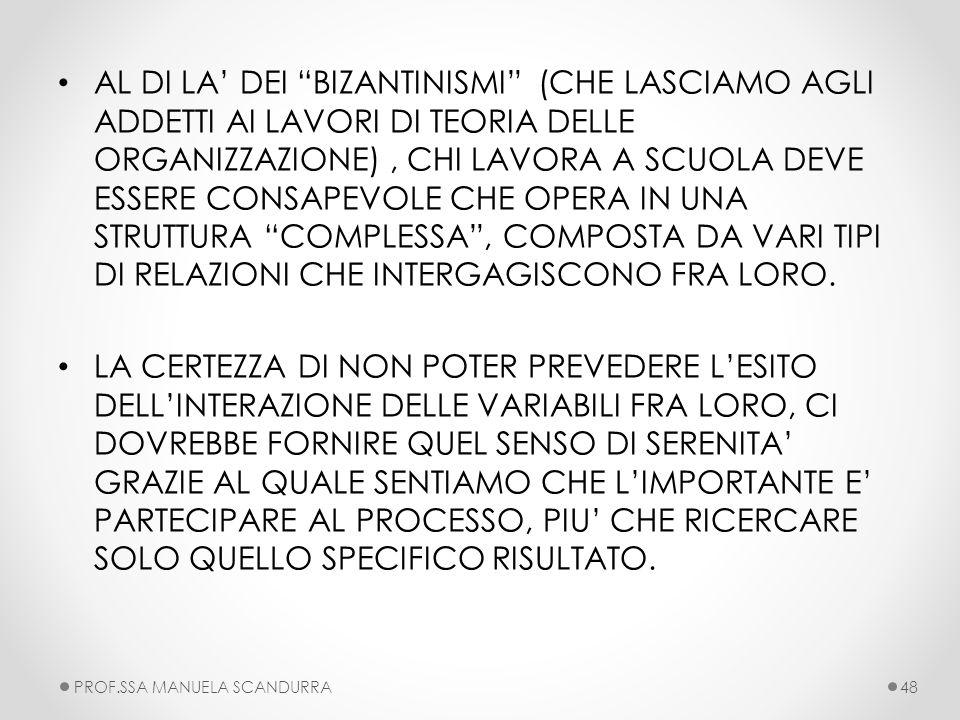 AL DI LA' DEI BIZANTINISMI (CHE LASCIAMO AGLI ADDETTI AI LAVORI DI TEORIA DELLE ORGANIZZAZIONE) , CHI LAVORA A SCUOLA DEVE ESSERE CONSAPEVOLE CHE OPERA IN UNA STRUTTURA COMPLESSA , COMPOSTA DA VARI TIPI DI RELAZIONI CHE INTERGAGISCONO FRA LORO.