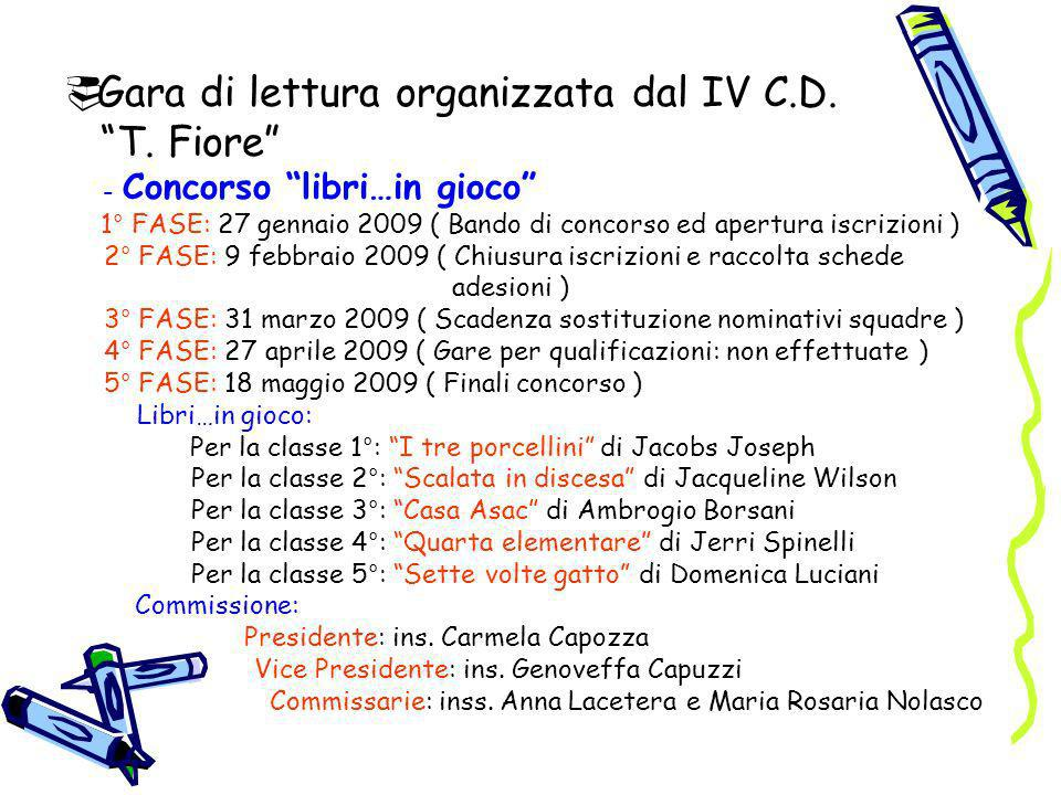 Gara di lettura organizzata dal IV C.D. T. Fiore
