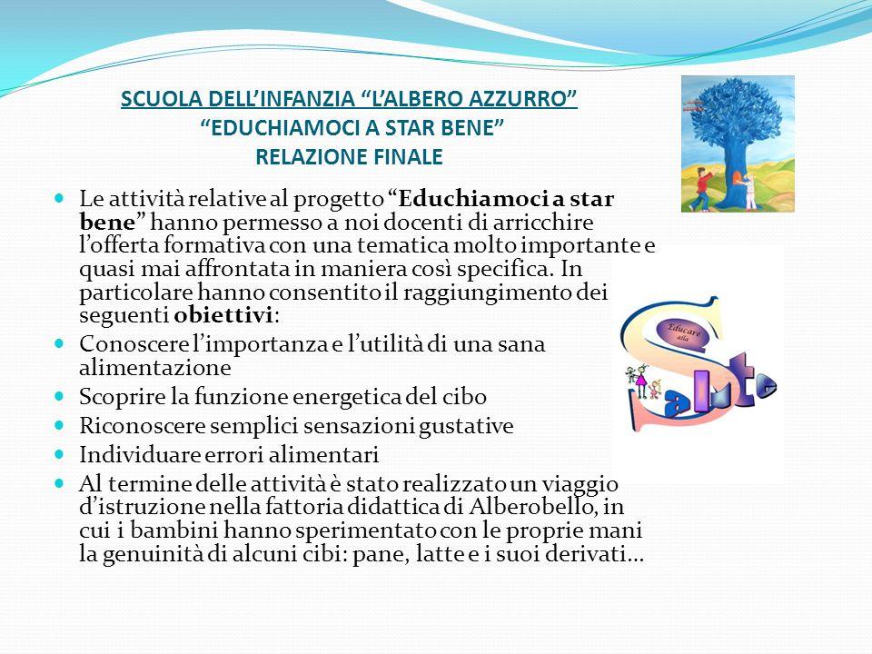 SCUOLA DELL'INFANZIA L'ALBERO AZZURRO EDUCHIAMOCI A STAR BENE RELAZIONE FINALE