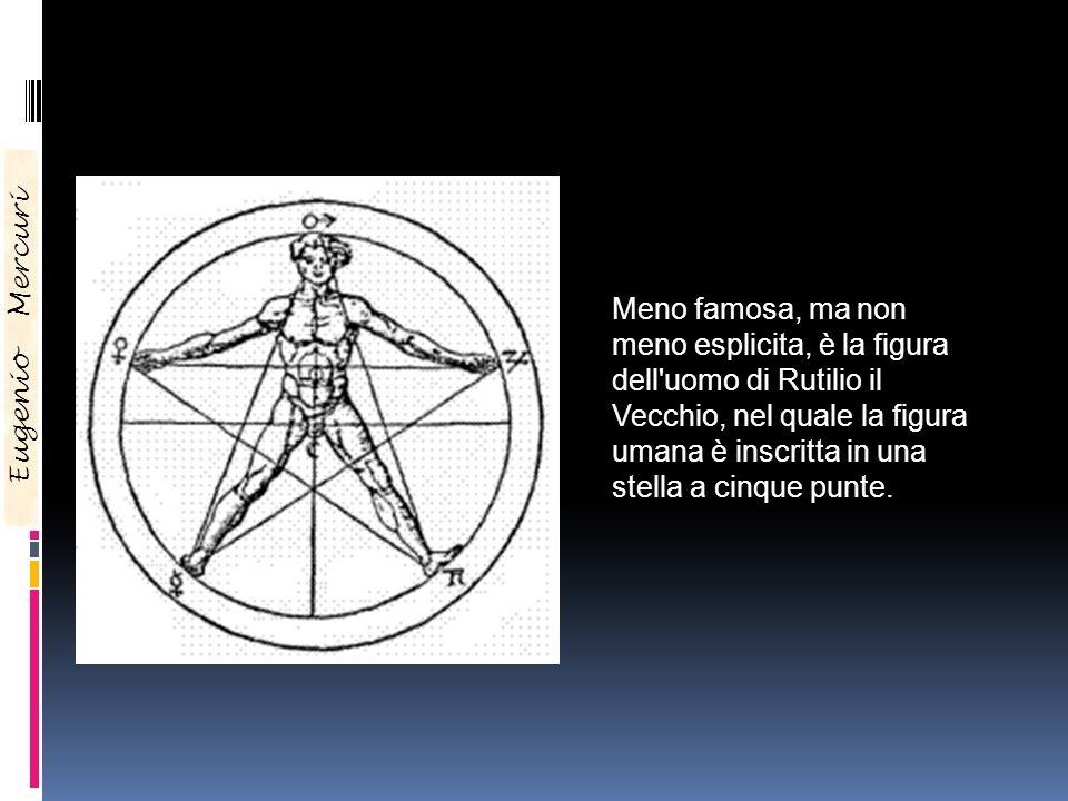 Meno famosa, ma non meno esplicita, è la figura dell uomo di Rutilio il Vecchio, nel quale la figura umana è inscritta in una stella a cinque punte.