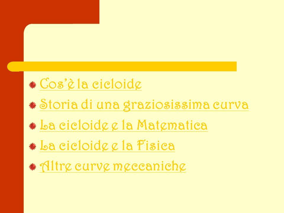 Cos'è la cicloide Storia di una graziosissima curva. La cicloide e la Matematica. La cicloide e la Fisica.