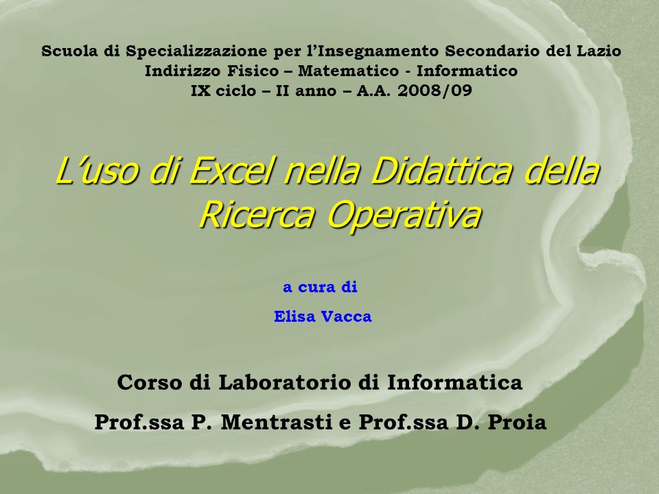 L'uso di Excel nella Didattica della Ricerca Operativa