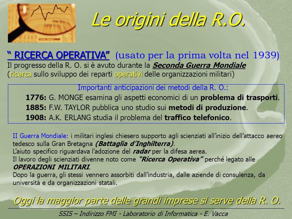 Le origini della R.O. RICERCA OPERATIVA (usato per la prima volta nel 1939)