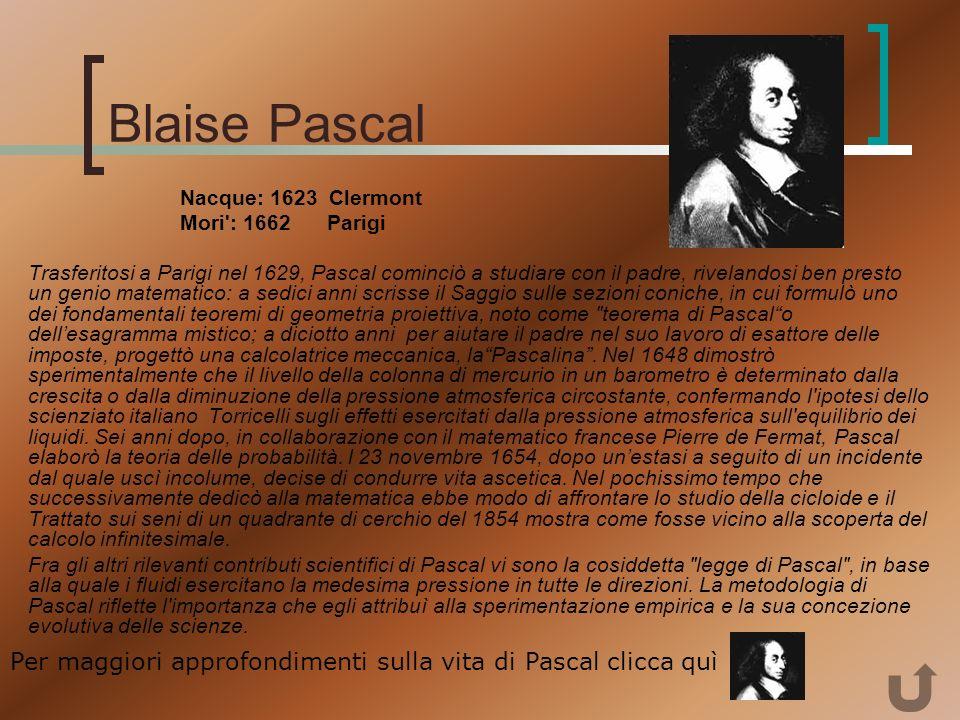 Blaise Pascal Nacque: 1623 Clermont. Mori : 1662 Parigi.