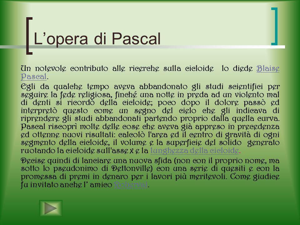 L'opera di Pascal Un notevole contributo alle ricerche sulla cicloide lo diede Blaise Pascal.